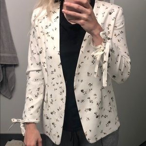 Nordstrom white floral blazer size small worn once